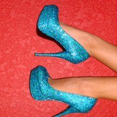 Blue Glitter Heels