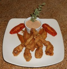 Shawna's Food and Recipe Blog: Southern Fried Frog Legs with Marjoram Neon Relish Louisiana Remoulade - Grilled Heirloom San Marzano Tomato and Gaufrette Potatoes