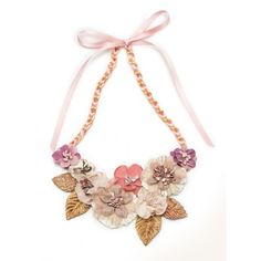 Soft Pink Bloom, made of fabric flowers and leaves. Chain length 18€