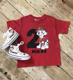 Where's all my Paw Patrol fans? New Marshall Tshirts and converse are live check them out! Birthday Boy Shirts, Baby First Birthday, Boy Birthday Parties, Birthday Ideas, Paw Patrol Marshall, Paw Patrol Outfit, Paw Patrol Shirt, Camisa Paw Patrol, Paw Patrol Birthday Theme