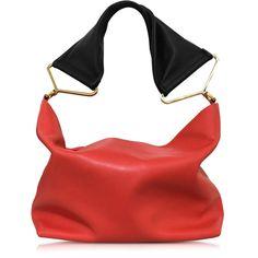 Marni Red Leather Shoulder Bag (£1,625) ❤ liked on Polyvore featuring bags, handbags, shoulder bags, red leather purse, leather shoulder bag, genuine leather hobo handbags, leather handbags and leather shoulder handbags