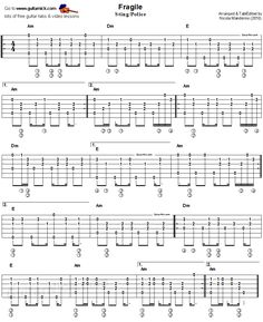 Fragile, Sting/Police - acoustic fingerstyle guitar tab