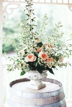 Blush, peach and green floral centerpiece   Stephanie Yonce Photography and Amore Events by Cody   see more on: http://burnettsboards.com/2014/08/european-flavored-al-fresco-rehearsal-dinner/