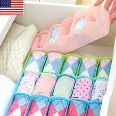 Everbuying Mobile offers high qualit Multi-functional Underwear Storage Box Organizer Rack for Bra Ties Sock Small Gadgets at wholesale price from China. Lingerie Storage, Underwear Storage, Underwear Organization, Sock Organization, Pink Storage Boxes, Storage Drawers, Diy Storage, Basket Storage, Desktop Drawers