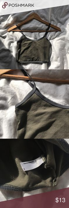 American Apparel Crop Tank Top Army green with dark gray elastic trimming. Snug fitting quality AA cotton/spandex blend. Never worn. American Apparel Tops Crop Tops