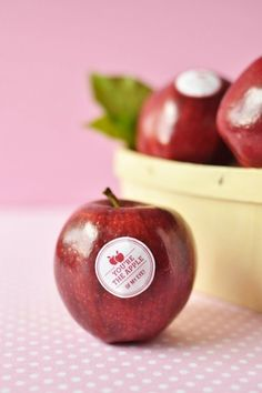 "Another fab edible alternative wedding favour option with a personalised label. Some will think it's ""cheesy""... but if you look closely... it's in fact an Apple ;-) oxo"