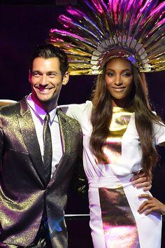 David Gandy - Olympic Closing ceremony - fashion finale - wearingPaul Smith (Vogue.com UK); with Jourdan Dunn