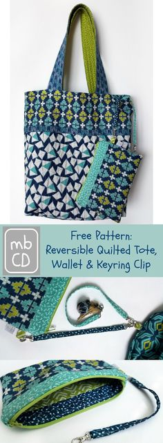 made by ChrissieD: Free Pattern - Reversible Tote, Wallet & Key Clip