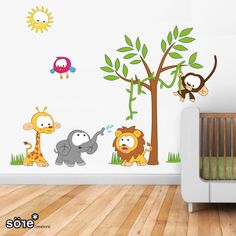 Baby Jungle Scene with Vine Wall Stickers