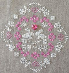 Bunny Love Cross Stitch PDF Pattern! Pretty & Sweet! Springtime & Easter! Pink hearts.  White bunnies. Optional Swarovski crystal charm and seed beads! Silk or DMC floss. Shabby Chic! Pastels. Natural linen.