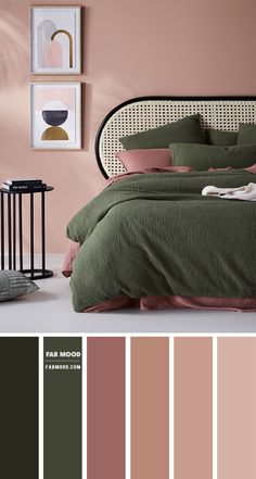 Warm Bedroom Colors, Earthy Bedroom, Bedroom Colour Palette, Bedroom Color Schemes, Colourful Bedroom, Living Room Colors, Rose Bedroom, Bedroom Green, Room Ideas Bedroom