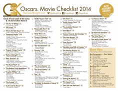 Oscars 2014: Download our printable movie checklist | The Gold Knight - Latest Academy Awards news, predictions and insight
