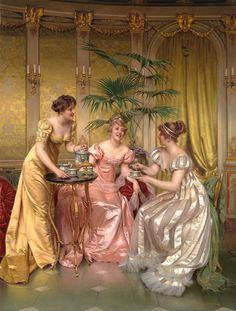 Charles-Joseph-Frédéric Soulacroix (French, 1825 hasta 1879) - té de la tarde para los tres