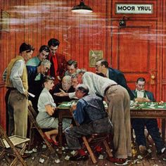 Marmont Hill Jury by Norman Rockwell Painting Print on Canvas, Size: 18 inch x 18 inch, Multicolor