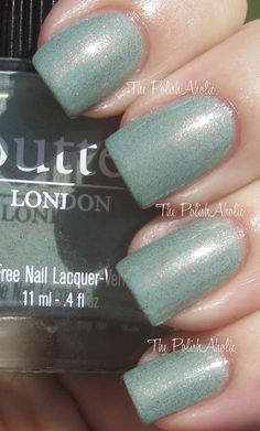 "Polishes I Own (no. 61): Butter London ""Two Fingered Salute"" - Patinaed green creme with coppery pink microglitter. Gorgeous!"