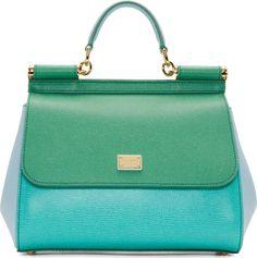 Dolce & Gabbana Blue Green Colorblock Miss Sicily Bag