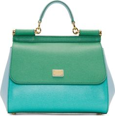 Dolce & Gabbana Blue Green Colorblock Miss Sicily Bag