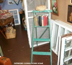DIY Ladder Makeover TUTORIAL gets new life as a Bookshelf!!! LOVE IT!!!!!!!    ~DistressedDonnaDownHome blog