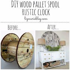 DIY Farmhouse Style Decor Ideas - DIY Wood Pallet Spool Rustic Clock - Rustic Ideas for Furniture, Paint Colors, Farm House Decoration for Living Room, Kitchen and Bedroom http://diyjoy.com/diy-farmhouse-decor-ideas