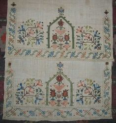 Turkish embroidery.  Napkin, 19th century.  this is 'two-sided embroidery' (front and rear are identical).   Could also be used as an apron in festive women's costumes (generally in Thrace and northwest Anatolia).