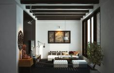 Contemporary living room with Asian motif