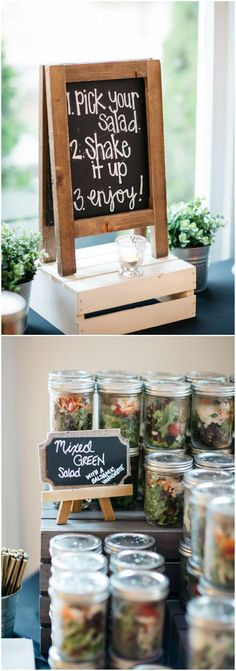 """Pick your salad, shake it up, enjoy!"" chalkboard sign, unique wedding reception food ideas, pre-made salads in mason jars // Melissa Maureen Photography"