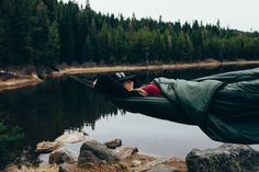 Conveniently sleep off the ground while you're on an adventure with the Bison Bag G1, the world's first sleeping bag hammock.