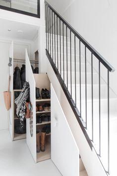 Under Stair Storage Ideas for Small Living Spaces Small Closet Space, Small Space Living, Small Spaces, Living Spaces, Living Room, Space Under Stairs, Under Stairs Cupboard, Under The Stairs Toilet, Scandinavian Loft