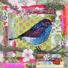 Julie Grugeaux - Artiste peintre - so love this Kunstjournal Inspiration, Art Journal Inspiration, Art Altéré, Vogel Quilt, Art Du Collage, Bird Quilt, Art Textile, Thread Painting, Pablo Picasso