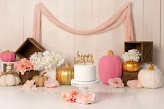 Pink and gold pumpkin fall birthday cake smash photography set for first birthday photography Fall Birthday Cakes, Birthday Cake Smash, Happy Birthday, First Birthday Photography, Cake Smash Photography, Fall Pumpkins, Pink And Gold, First Birthdays, Gold Pumpkin
