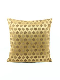 Gold Brown Euro sham 24x24 Pillow cover Polka Dots by Fabricasia