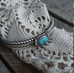 Navajo Sterling Silver & Turquoise Cuff by bettyrayvintage on Etsy