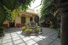 The courtyard inside the Sauza family museum located downtown Tequila, Jalisco, Mexico.