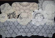 Vintage Crochet Doilies Shades of White and by CheekyVintageCloset