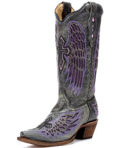 $265-countryoutfitter.com- Women's Distressed Black Winged Cross Purple Inlay Boot - A1969