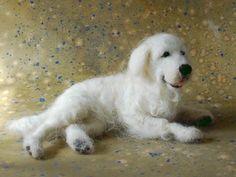Dog by Sarafina Fiber Art Needle Felted Animals