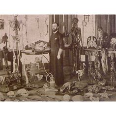 Dr. Weaver is most remembered for his twenty-year dissection of an entire  human nervous system. In the photograph, Dr. Weaver stands among the  various anatomical specimens from his museum at Hahneman Medical School.