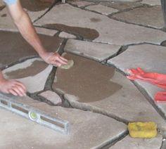 Earthship Flagstone Grout Flooring.