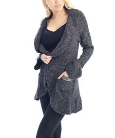 Look at this #zulilyfind! Dark Gray Ruffle Shawl Collar Wool-Blend Open Cardigan - Women #zulilyfinds
