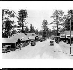 View of Pine Knot Boulevard in Big Bear Lake Village. ca.1920. #bigbear #snow