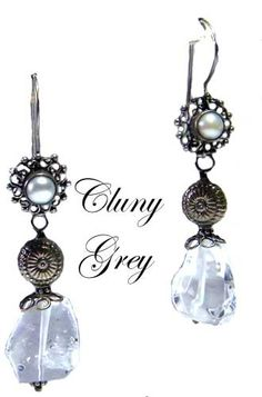 a pair of earrings made with clear quartz crystals - http://www.clunygreyjewelry.com/quartz-jewelry.html