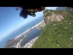 Yves Jetman Rossy flies above Rio de Janeiro in Brazil