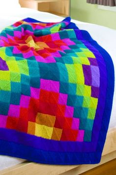 this is a stunning mitered, or Domino Knitting blanket ...