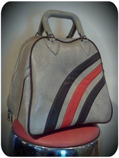 Alley Oop Vintage will be Selling Vintage Bowling Accessories + Clothing + Other Great Vintage Goods at the 2013 Cinco de Mayo Providence Rock And Roll Yard Sale!  Rad Racer Striped Bowling Bag. $40.00, via Etsy.