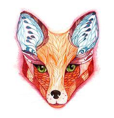 100% waterproof vinyl sticker, Red Fox face animal sticker, New on teva gallery. $7.50, via Etsy.