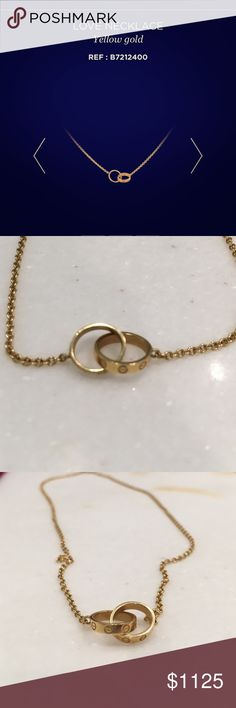 "Cartier yellow gold Love necklace Barely worn Cartier yellow gold love necklace. Comes with pouch and box. Length 16"". Guaranteed authentic Jewelry Necklaces"