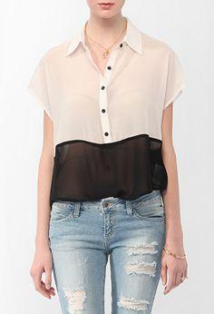 Sheer Colorblocked Shirt
