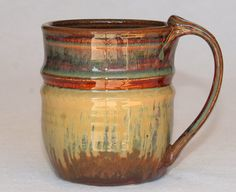 Pottery mug handthrown ceramic stoneware 13oz by DrostePottery, $17.00