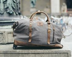 Waxed Canvas Holdall / Brown Leather Holdall Bag / Waxed Holdall Bags / Travelling Holdall Bags / Camel Colored Holdall Leather Bag