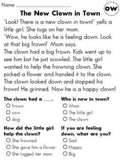 Short Story with Comprehension Questions: 3rd Grade